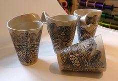 Slab rolled, hand built white stoneware ceramic. Kari Astrup-Geelmuyden