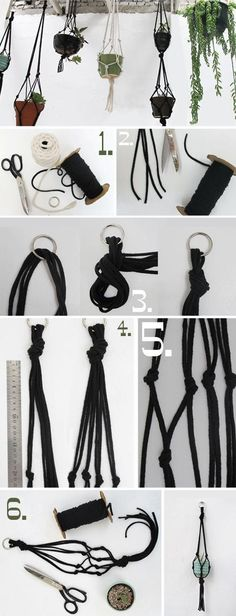 I love rope plant hangers but they are so expensive.  Make your own
