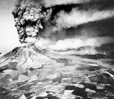 Volcano Mount St. Helens sends a plume of ash, smoke and debris skyward in this May 18, 1980 photo. The ash plume is being carried eastward by prevailing winds, depositing ash across several states.