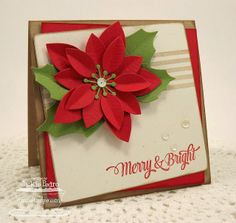 Poinsettia Die-namics, Striped Backgrounds, Cheerful Christmas Greetings - Jackie Pedro #mftstamps