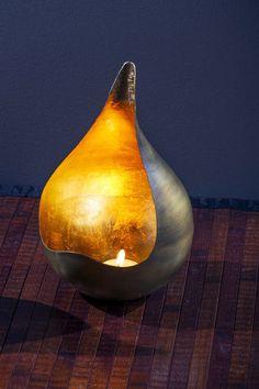 Gold Leaf Tear Drop Candle Holder - Large - from Mothology