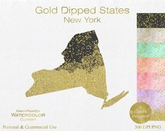 WATERCOLOR & GOLD New York Clipart Commercial Use by ClipArtBrat