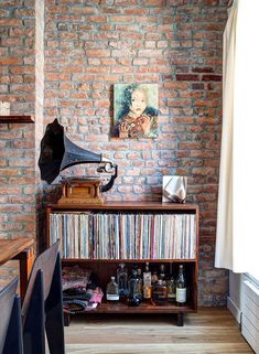 exposed brick + gramophone