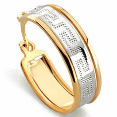 Aro dos tonos dibujo greca - G24140 23,00€  Aro dorado / plata diseño greca, gold filled. Dimensiones: diámetro 23 mm, ancho 7 mm, peso 3 gr.