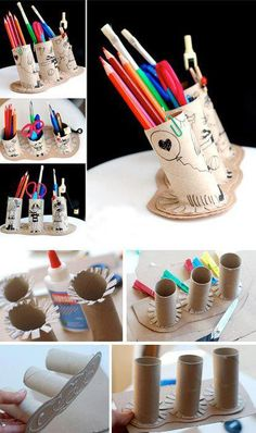 DIY pencil & crayon holder, from toilet rolls and card. Toilet Paper Roll Crafts, Cardboard Crafts, Cardboard Tubes, Diy For Kids, Crafts For Kids, Fun Crafts, Diy And Crafts, Crayon Holder, Pencil Holders