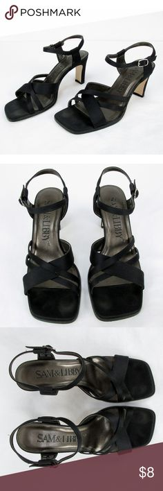 """Sam & Libby Womens Leather Square Toe Shoes Size 6 Women's pre-owned Sam & Libby Marla SL Black Satin and Leather straps with buckle, 3"""" heels, size 6 medium in very good condition.  Item summary:  - Brand:  Sam & Libby  - Item:  Marla SL Women's Shoes  - Style:  Strappy Heeled Sandal  - Color:  Black  - Size:  6 Medium  - Material:  Fabric Upper 