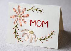 DIY stitched Mother's Day Card by Miniature Rhino.
