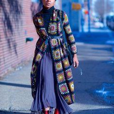 Oma-Square jas sjaal hoody jas friform hand breien door AlisaSonya