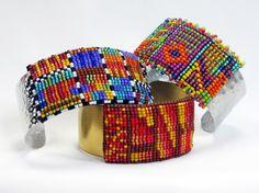 Kodachrome Cuff  Metalsmithing, Bead Weaving