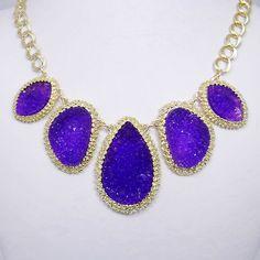 Purple Druzy Drusy Drop Stone Statement Necklace, might wear for dental school senior party!