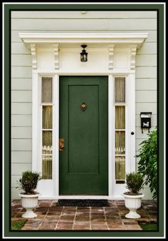 Forest Green Door Rocks This Entrance