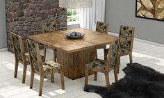 Conjunto para Sala de Jantar com Mesa e 6 Cadeiras Nobre/Floral Marrom - Dalla Costa