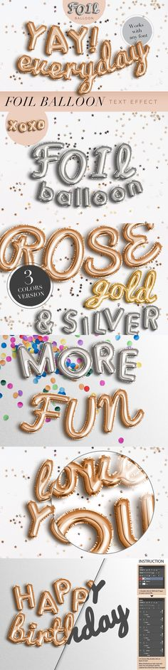 Fun and modern gold, silver, and rose gold foil balloon Photoshop text and shape effects, part of The Modern Designer's Must-Have Bundle. Photoshop Fonts, Photoshop Text Effects, Photoshop Tutorial, Photoshop Shapes, Graphic Design Tutorials, Graphic Design Inspiration, Easy Party Decorations, Foil Balloons, Rose Gold Balloons