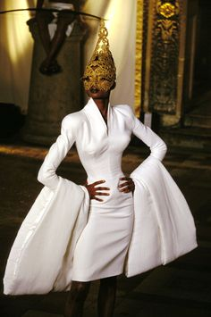 Givenchy Haute Couture. A blending of a black woman's past history and her future as expressed through fashion.