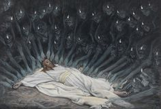 James Tissot (French, 1836–1902). Jesus Ministered to by Angels, 1886–94. Opaque watercolor over graphite on gray wove paper, 6 11/16 x 9 3/4 in. (17 x 24.8 cm). Brooklyn Museum