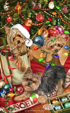 Yorkshire Terrier - Tree Trimmers -  by Margaret Sweeney