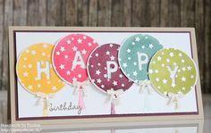 Stampin Up Geburtstagskarte Birthday Card Karte Stempelset Wir feiern Framelits . - Stampin Up Geburtstagskarte Birthday Card Karte Stempelset Wir feiern Framelits Beeindruckende Buch - Ballon Party, Up Balloons, Round Balloons, Kids Birthday Cards, Card Birthday, Balloon Birthday, Tampons, Kids Cards, Cute Cards