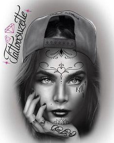 Chicano Art Tattoos, Chicano Drawings, Gangsta Tattoos, Girl Face Tattoo, Girl Tattoos, Tattoo Studio, Og Abel Art, Yogi Tattoo, Clown Photos