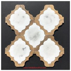 Carrara Marble & Light Porcelain Wood Waterjet Cut Tile Mosaic Tile Floor Inlays for sale online Wood Tile Kitchen, Wood Tile Floors, Kitchen Backsplash, Kitchen Design, Marble Wood, Carrara Marble, Marble Bath, Marble Tiles, Wood Mosaic