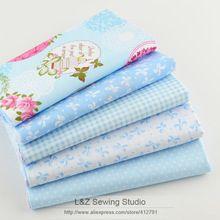 40 cm * 50 cm 5 unids Azul de Algodón Trimestre Grasa Tela Que Acolcha Patchwork Niños Tejido Textil Ropa de Cama de Bebé Para coser Tilda Muñeca(China (Mainland))