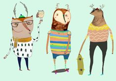 The Coolest Deers. Limited edition art print by Ashley Percival. Art Wall Kids, Art For Kids, Kids Prints, Art Prints, Kids Poster, Skateboard Art, Children's Book Illustration, Illustrations Posters, Photo Art