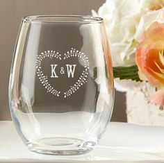 Personalized Stemless Wine Glass - Rustic Wedding Favors. Unique custom wine glass favors.