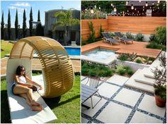 Moderne Sonnenliege für zwei und eingebauter Whirlpool im Garten