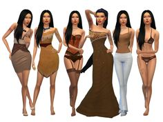 Disney inspired Pocahontas  Found in TSR Category 'Sims 4 Young Adult Female Sims'