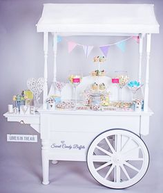 White Vintage Sweet Cart. www.sweetcandybuffets.co.uk