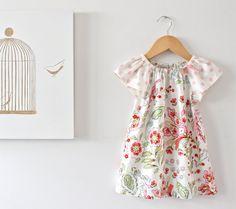 Baby Girl Summer Dress-Floral Dress-Toddlers Sundress-Peasant Dress-1st Birthday Dress-Shabby Chic--Children Clothing by Chasing Mini via Etsy