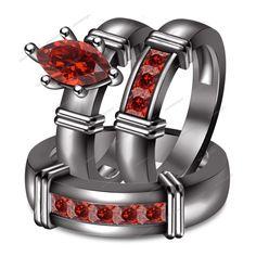 925 Marquise & Princess Garnet 14k Black Gold Finish Trio Engagement Ring Set #WeddingEngagementAnniversaryBirthdayPartyGift