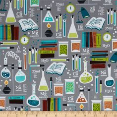 Kanvas Academic Club Good Chemistry Grey from @fabricdotcom  Designed by Maria Kalinowski for Kanvas in association with Benartex, this cotton print fabric is perfect for quilting, apparel and home decor accents. Colors include black, light yellow, orange, white, shades of grey, shades of teal, shades of lime, and shades of brown.