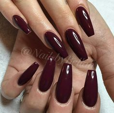 45 Burgundy Matte Coffin Nail Colors Designs for 2019 - Long Nails - Naili . - 45 Burgundy Matte Coffin Nail Colors Designs for 2019 – Long Nails – NailiDeasTrends 45 Burgund - Dark Red Nails, Burgundy Nails, Oxblood Nails, Coffin Nails Matte, Aycrlic Nails, Gliter Nails, Stiletto Nails, Stylish Nails, Trendy Nails