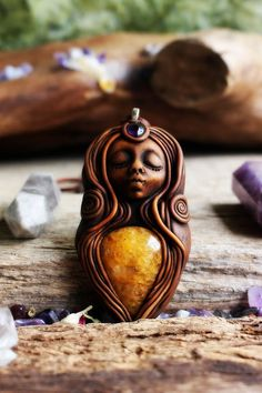 Goddess Necklace with Yellow Quartz and Amethyst by TRaewynJewelry