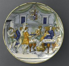 Nicola di Grabriele Sbraghe da Urbano (ca. 1480-1537/38) Service of Isabella d'Este (1474-1539), Bowl with the legend of the banquet of Dido and Aeneas Italy, Urbino, ca. 1524-1525 Majolica a istoriato, painted in polychrome, D. 27,1 cm Paris, Musée du Louvre, OA12206