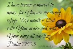 Psalm 71:7-8 (NKJV) ~~I have become as a wonder to many, but You are my strong refuge. Let my mouth be filled with Your praise and with Your glory all the day.