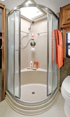 Nice, big shower with a place to sit and relax! Small Space Living, Small Spaces, Tiffin Phaeton, Big Shower, Tiffin Motorhomes, Small Rv, Bus House, Rv Campers, Rv Life