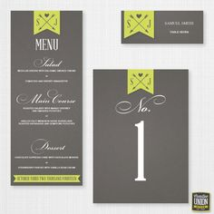 Wedding Reception Package - Wedding Place Cards - Wedding Table Numbers - Wedding Menu - DIY Printable