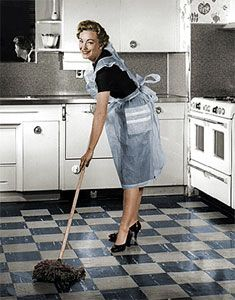 A 1950s housekeeping schedule. This looks like my kitchen . . . except the clean part. . . . and the high heels!