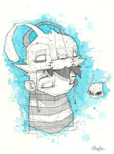 "Illustration Originale / Aquarelle ""Rabbit Hat""  Artiste : MONSTA"