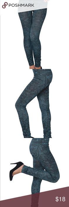 Women's Full Length Jegging/Legging Tights Women's Full Length Printed Jegging/Legging Tights  Blue Leave Print Pants Leggings