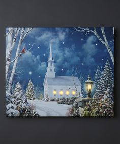 Church in Woods LED Wrapped Canvas #zulilyfinds