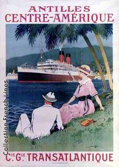"Transatlantique - Antilles"" Glossy Vintage Cruise Line Poster Art Print Vintage Travel Posters, Vintage Ads, French Vintage, Vintage Style, Travel Ads, Cruise Travel, Cruise Vacation, Travel Photos, Poster Art"