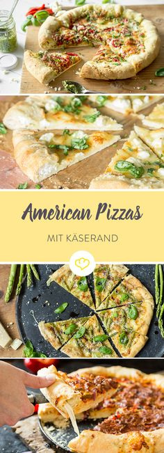 For pizza freaks and cheese fans: 5 American pizzas with cheese rim - Pizza - Pizza recipes Burger Recipes, Pizza Recipes, New Recipes, Yummy Recipes, Burgers Pizza, Creamy Cheese, Pasta, International Recipes, Pizza Logo