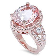 9.00CT Morganite & Diamond Engagement Ring 14K Rose by Pompeii3, $1799.00