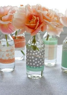 Washi tape & vase centerpiece