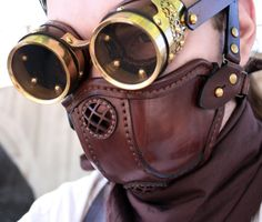 STEAMPUNK LEATHER MASK made of  brown leather Raider design no.1. $115.00, via Etsy.