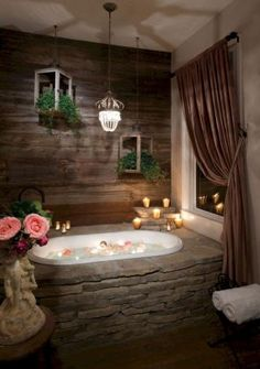 This rustic bathroom design creates beautifully warm and relaxed setting. Western Bathrooms, Rustic Bathrooms, Dream Bathrooms, Modern Bathrooms, Small Bathrooms, Rustic Bathroom Designs, Bathroom Design Luxury, Bathroom Interior, Bathroom Ideas