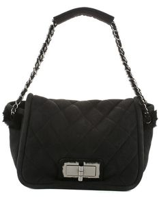 Chanel Black Quilted Suede Flap Bag