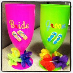 Couple's Hawaiian luau themed wedding shower cups for the bride & groom